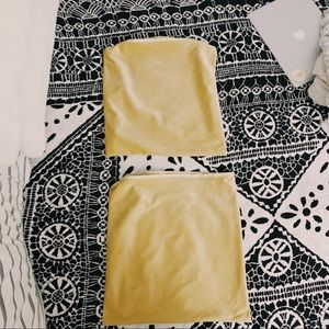 Two Tan Velvet Throw Pillow Cases
